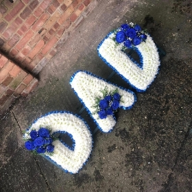 XL, large, big, dad, letters, word, Funeral, sympathy, wreath, tribute, flowers, florist, gravesend, Northfleet, Kent, london