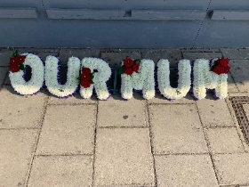 Our mum, letters, words, Funeral, sympathy, wreath, tribute, flowers, florist, gravesend, Northfleet, Kent, london