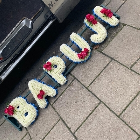 BAPUJI, Indian, letters, Sikh, Hindi, Funeral, sympathy, wreath, tribute, flowers, florist, gravesend, Northfleet, Kent, london