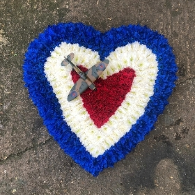 Funeral, sympathy, wreath, tribute, flowers, florist, gravesend, Northfleet, Kent, london, RAF, spitfire, roundel, heart, red, white, blue,