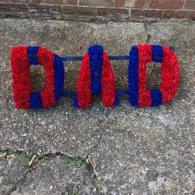 Crystal Palace, Newcastle, stripe, letters, red, blue, black, white, football, Funeral, sympathy, wreath, tribute, flowers, florist, gravesend, Northfleet, Kent, london