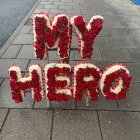 My, our, hero, tier, level, letters, word, Funeral, sympathy, wreath, tribute, flowers, florist, gravesend, Northfleet, Kent, london