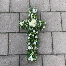 Natural, wild, woodland, white, cross, Funeral, sympathy, wreath, tribute, flowers, florist, gravesend, Northfleet, Kent, london