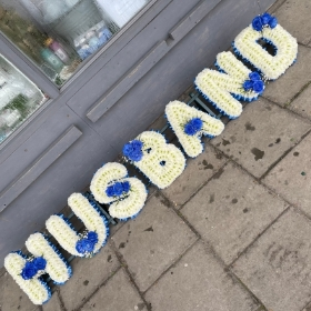 Husband, letters, words, Funeral, sympathy, wreath, tribute, flowers, florist, gravesend, Northfleet, Kent, London